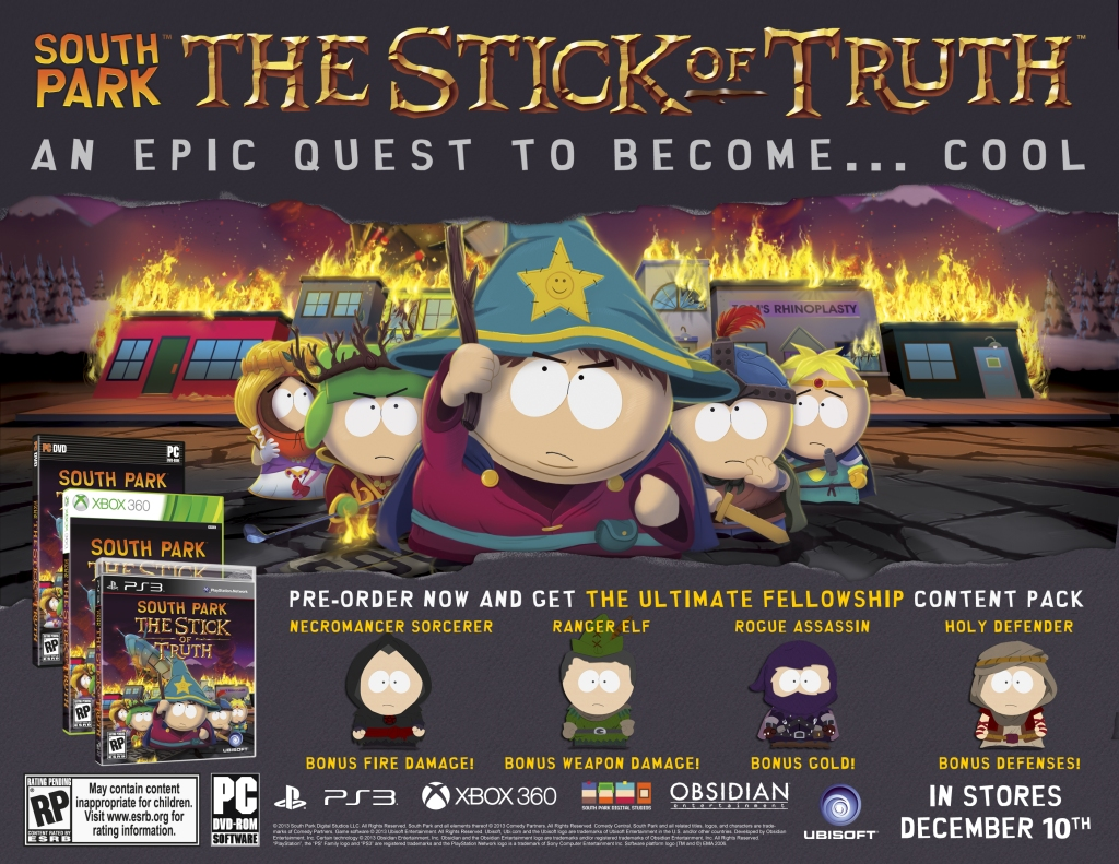 South Park The Stick of Truth Pre-Order Sheet